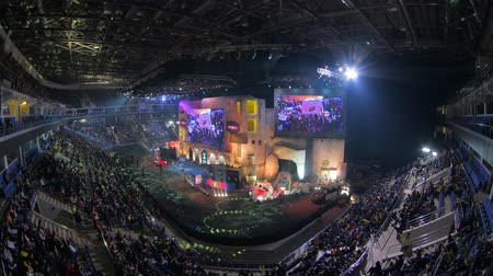 forma : MOSCOW, RUSSIA - OCTOBER 27 2018: EPICENTER Counter Strike: Global Offensive esports event. Main stage, lightning, illumination, big screen on the opening ceremony. Vídeos
