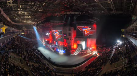 counter strike : MOSCOW, RUSSIA - OCTOBER 27 2018: EPICENTER Counter Strike: Global Offensive esports event. Main stage, lightning, illumination, big screen on the opening ceremony. Stock Footage
