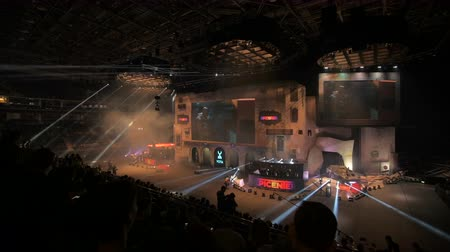 counter strike : MOSCOW, RUSSIA - OCTOBER 27 2018: Counter Strike: Global Offensive esports event. Timelapse video of a Main stage, lightning, illumination, big screen on the opening ceremony.