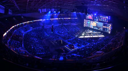 MOSCOW, RUSSIA - 14th SEPTEMBER 2019: esports Counter-Strike: Global Offensive event. Main stage, lightning, illumination, big screen at tournaments arena.