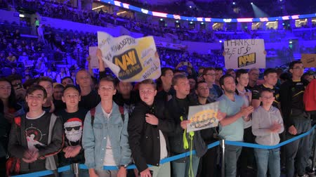 mítosz : MOSCOW, RUSSIA - 14th SEPTEMBER 2019: esports Counter-Strike: Global Offensive event. Dedicated enthusiastic fans at arena cheering and worried about their favorite team.