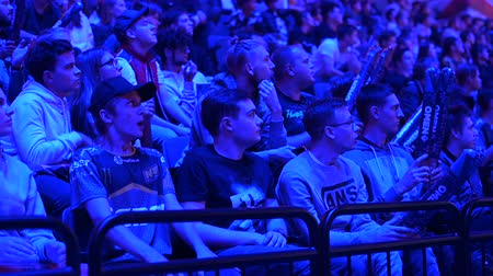 counter strike : MOSCOW, RUSSIA - 14th SEPTEMBER 2019: esports Counter-Strike: Global Offensive event. Fans on a tribunes cheering and supporting for thier favorite teams.