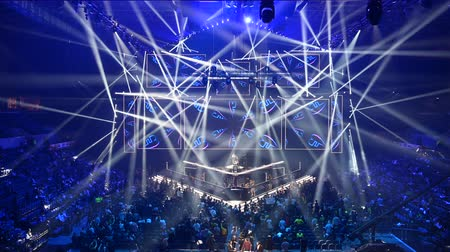 MOSCOW, RUSSIA - 14th SEPTEMBER 2019: esports Counter-Strike: Global Offensive event. Russian rapper Feduk perform on a stage on the opening ceremony. Stok Video