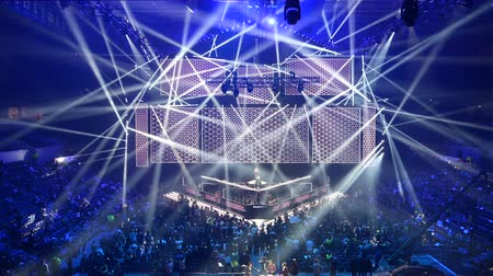 mítosz : MOSCOW, RUSSIA - 14th SEPTEMBER 2019: esports Counter-Strike: Global Offensive event. Russian rapper Feduk perform on a stage on the opening ceremony. Stock mozgókép