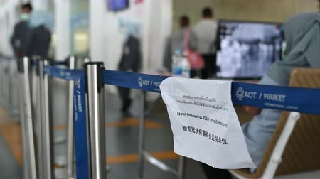 Phuket, Thailand - March 04 2020: Sign at the airport of temperature control zone, monitor of thermal scanner camera to check people entering an airport during Coronavirus, Covid 19 outbreak in Thailand.