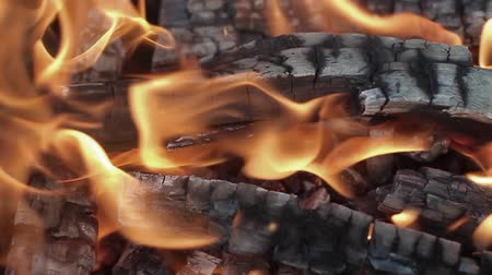 cosiness : Slow motion fireplace closeup for bbq, nature yellow fire. Burning wood in the fireplace close
