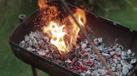 kütük : Slow motion split up fireplace for bbq. Burning wood in the fireplace close Stok Video
