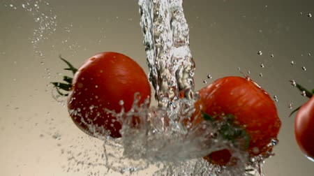 incrível : Flying tomatoes on a background of water. Very beautiful studio shot. Slow motion.