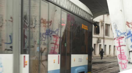 граффити : Tram calls into the tunnel painted graffiti