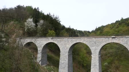 holiday villa : Bridge with a Train at Beautiful Mountain Landscape Stock Footage