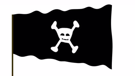morrer : Pirate waving flag with human skull isolated on white background. Isolated waving pirate flag. Cartoon symbol illustration.