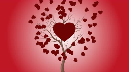 which : The red heart beats by the tree and the hearts move in the background.
