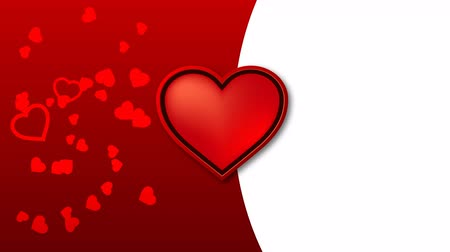 estilizado : The red heart pulses into rhythm, and another red heart of different sizes dances against the background.