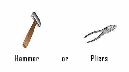 png : Selection between hammer and pliers. Hand drawn hammer and pliers.