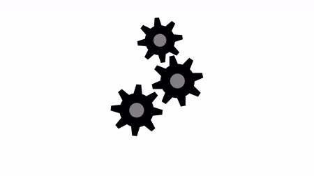 заводной : Cogs working loading screen motion background. Black rotating gears of different sizes on white background 4K