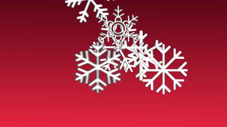 Animation white knitted snowflake and merry christmas text on red background