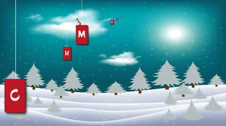 Magic Merry Christmas. Moon in clouds, stars and snowfall. Silhouette of woods on moon background over winter landscape. Christmas Animation in Beautiful Winter Snowy Landscape.
