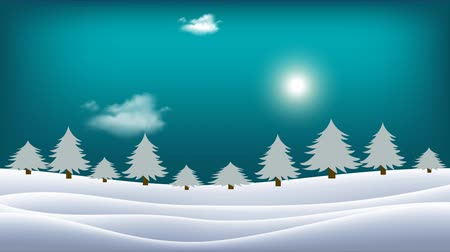 snow covered spruce : The sun moves across the horizon and clouds move in the sky. Winter landscape. Snow covered hills with trees and shining sun in the blue sky.