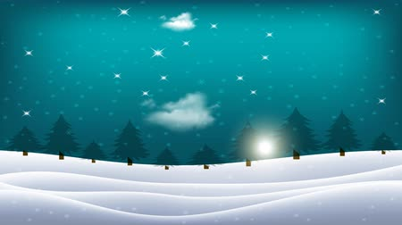 The sun moves across the horizon and clouds move in the sky. Winter landscape. Snow covered hills with trees and shining sun in the blue sky.