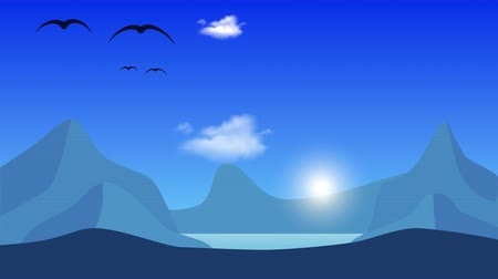 Animation moving landscape in cartoon style. The background flies birds and clouds in the blue sky. The glow of the morning sun appears on the horizon. Seamless loop.