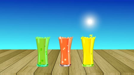 Smoothies, juices, beverages, drinks. Summer glasses of cold lemonade at sunlight. Hello summer. Moving sun on the horizon. Fresh bubbles of juices. Summer paradise background.