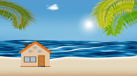 Cartoon animation of tropical island with cute house and palm trees. In the distance is a rippling rough sea and sun that moves across the sky. Стоковые видеозаписи