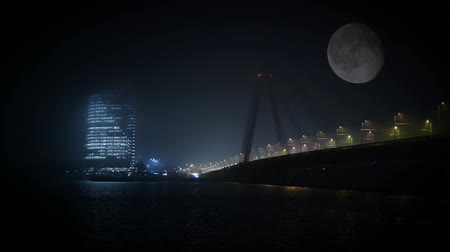 riga : HD - Business Center at night in the fog