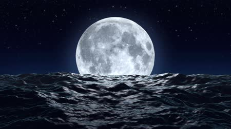 воды : HD - Big moon over the ocean
