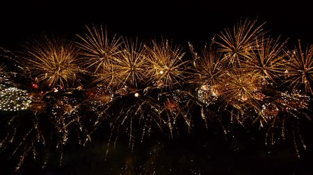 Рио : HD - Fireworks. Wide angle view Стоковые видеозаписи
