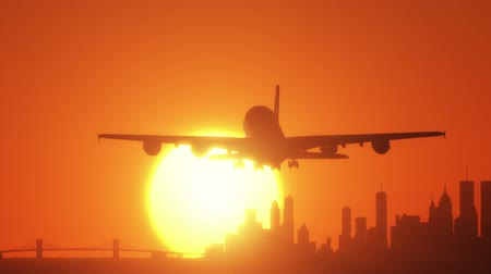 airplane engine : HD - Sunset in New York Stock Footage