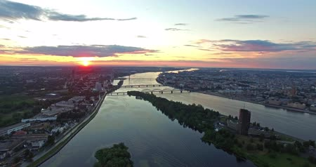 riga : 4K  Sunset in the city. Aerial view