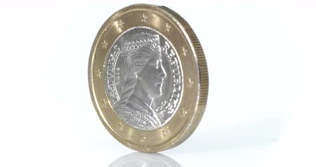 pound : 4K - Euro coin rotate on white background Stock Footage