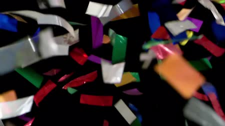 HD - Colorful Confetti. Pieces slowly fall down