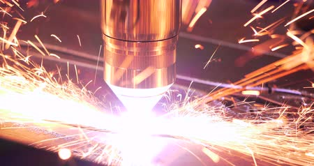 4K - Laser cutting of metal with sparks