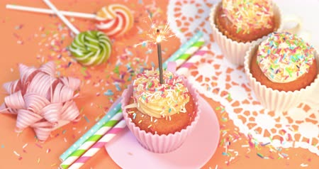muffin : 4K - Party with holiday cupcakes Stock Footage