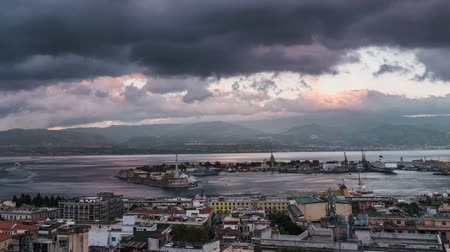 sycylia : Timelapse of the Port of Messina in Sicily