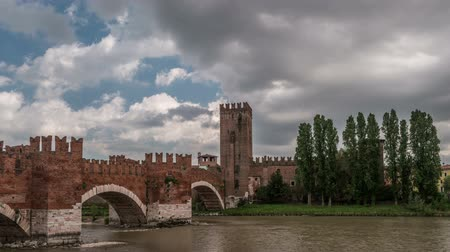architectural protection : Timelapse of medieval stone bridge Ponte Scaligero