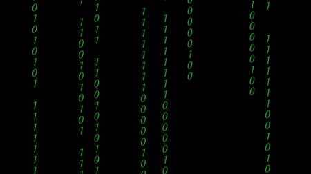 Abstract Binary Digital Code in colors, on black background