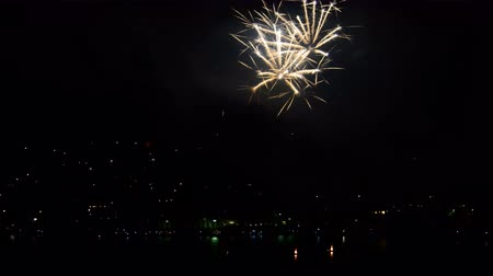 lagos : Omegna (Verbania), Italy - july 20, 2017: Fireworks competition of Year 2017 on the lake Orta. Timelapse 4k.