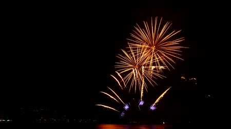 lagos : Omegna (Verbania), Italy - july 28, 2017: Fireworks competition of Year 2017 on the lake Orta. Timelapse 4k.