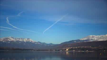 reservoir : Viverone (Torino), Italy - March 21, 2011: Lake Viverone in spring, with pre-Alps and Alps. Stock Footage