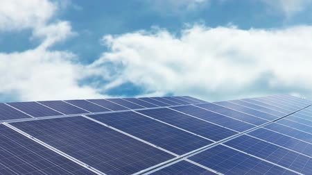 solar power : Solar panels with blue sunny sky