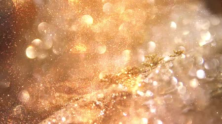 szampan : Golden glitter particles background Wideo