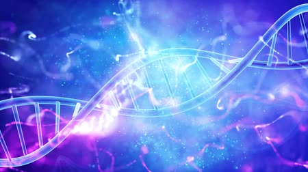 mikroszkopikus : DNA double helix medical background Stock mozgókép