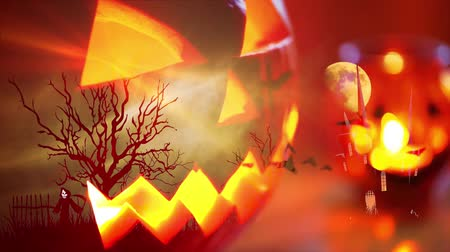 assombrada : Halloween background with pumpkin and bats Stock Footage