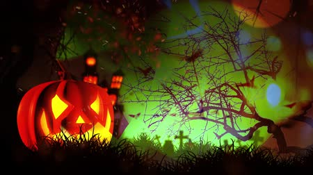 witchcraft : Happy Halloween haunted pumpkin and flying bats Stock Footage