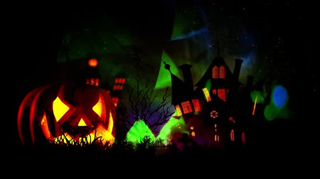 czary : Happy Halloween haunted pumpkin and flying bats Wideo