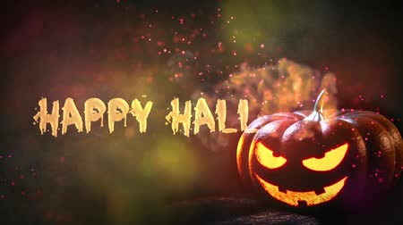 czcionki : Happy Halloween haunted pumpkin background