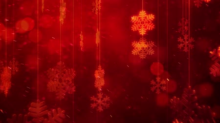 tempo de natal : Golden snowflakes in winter background Stock Footage