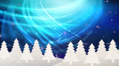floco : Winter background with snowflakes and snowy fir trees